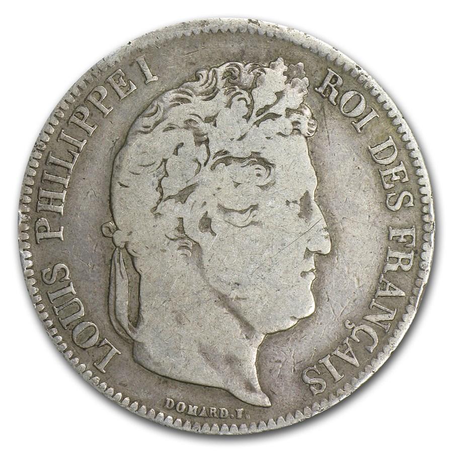 1834-MA France Silver 5 Francs VF Details
