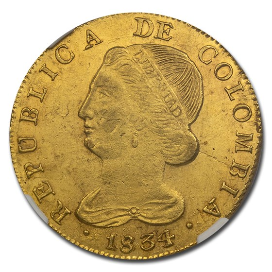 1834 UR Colombia Gold 8 Escudo MS-63 NGC