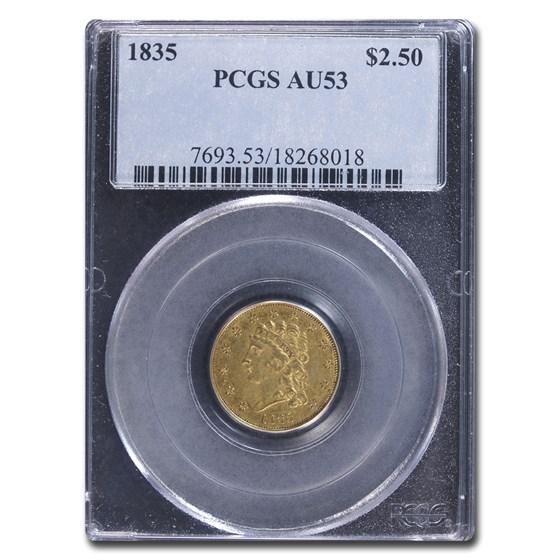 1835 $2.50 Gold Classic Head AU-53 PCGS