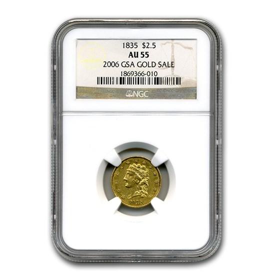 1835 $2.50 Gold Classic Head AU-55 NGC (GSA)
