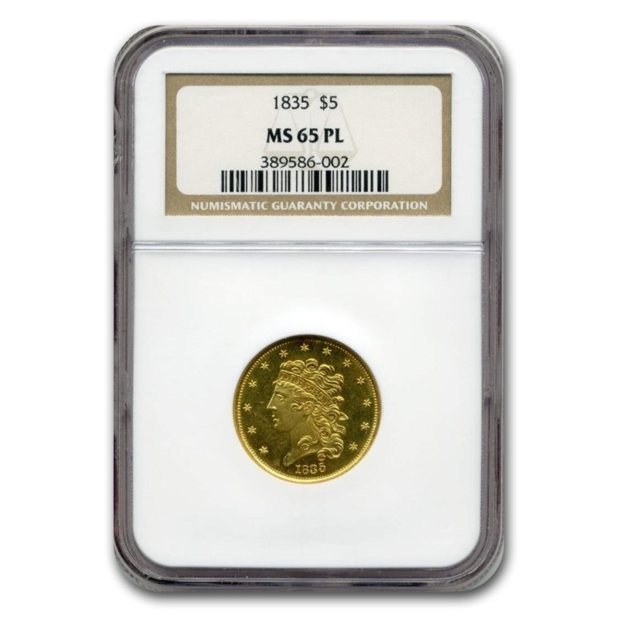 1835 $5 Classic Head Gold Half Eagle MS-65 NGC (PL)