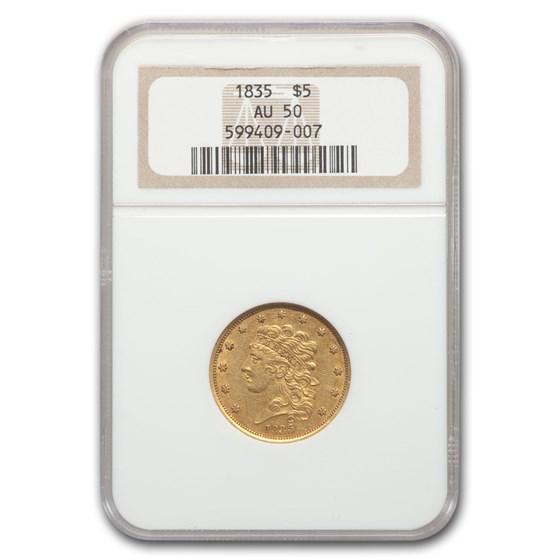 1835 $5 Gold Classic Head Half Eagle AU-50 NGC
