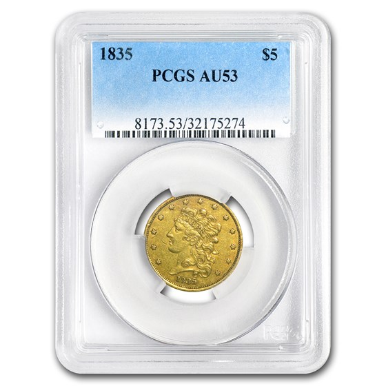 1835 $5 Gold Classic Head Half Eagle AU-53 PCGS