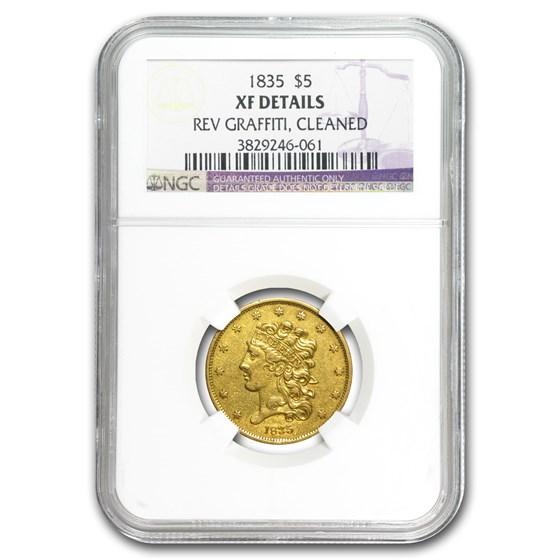 1835 $5 Gold Classic Head Half Eagle XF Details NGC (Graffiti)