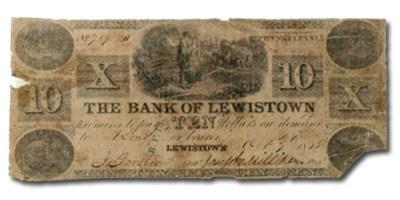 1835 Bank of Lewistown, PA, $10 PA-250 Fine