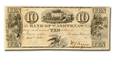 1835 Bank of Washtenaw, MI $10 MI-50, AU