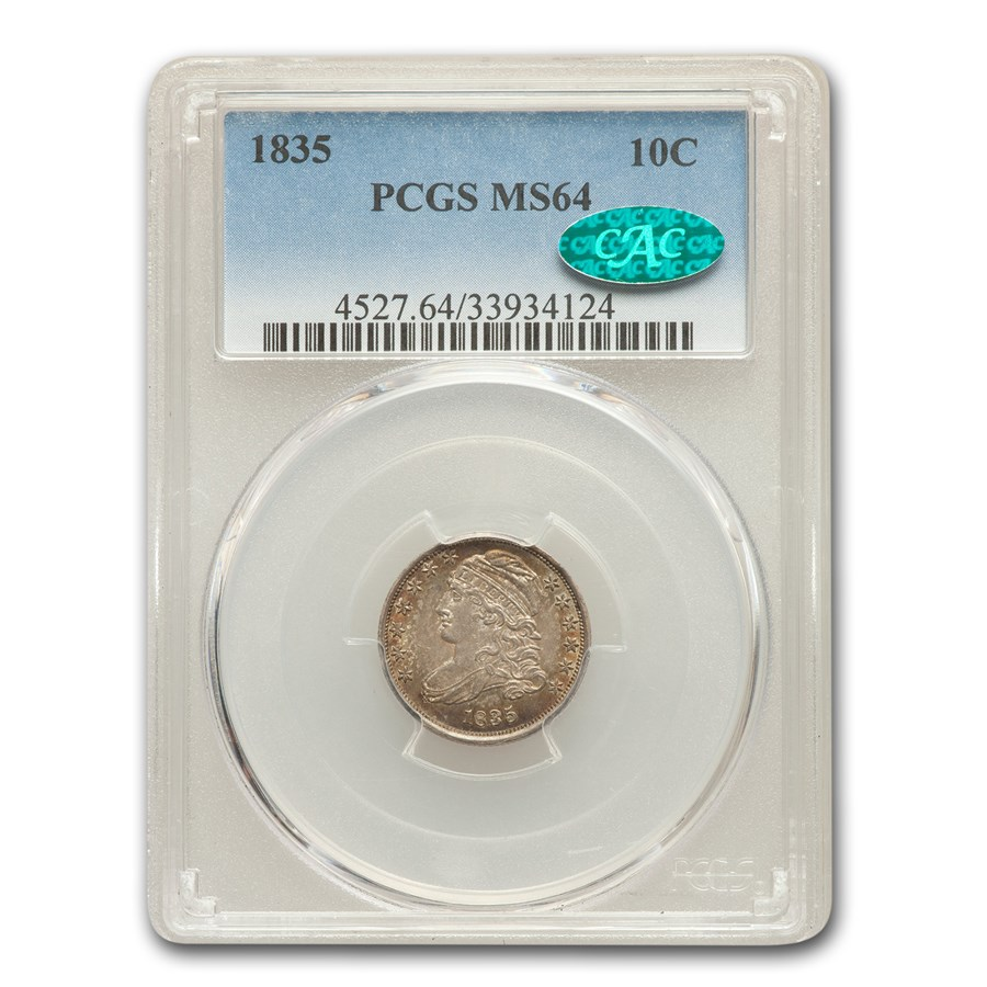 1835 Capped Bust Dime MS-64 PCGS CAC