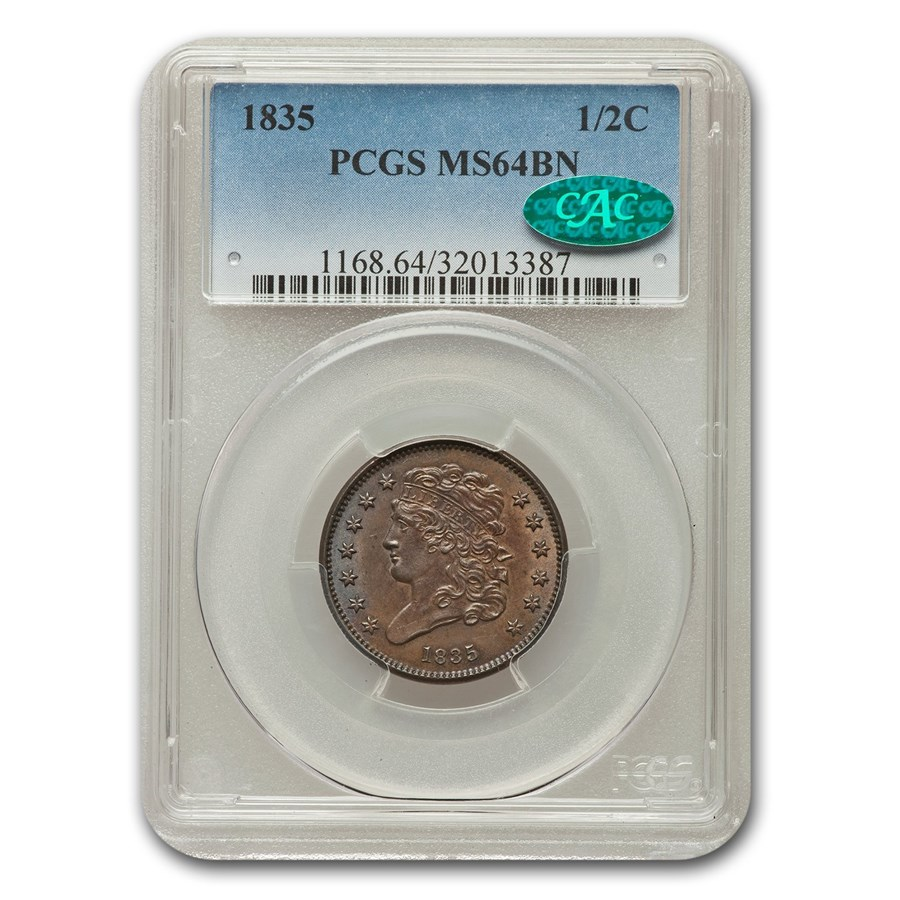 1835 Capped Bust Half Cent MS-64 PCGS CAC (Brown)
