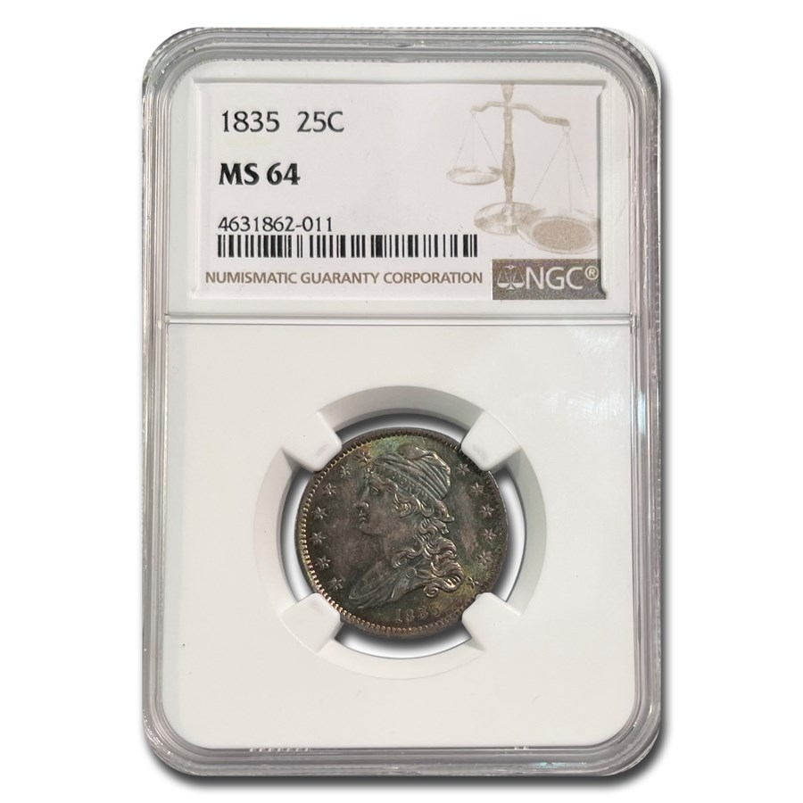 1835 Capped Bust Quarter MS-64 NGC