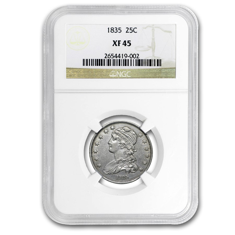 1835 Capped Bust Quarter XF-45 NGC