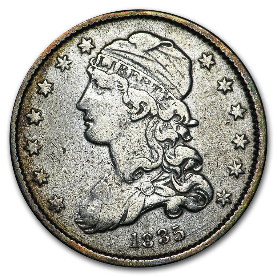 1835 Capped Bust Quarter XF Details (Cleaned)