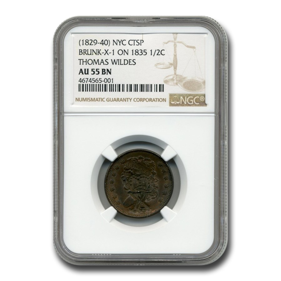 1835 Half Cent AU-55 BN NGC (Thomas Wildes Counterstamp)