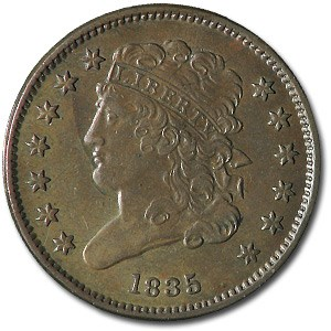 1835 Half Cent MS-60 (Repunched Date)