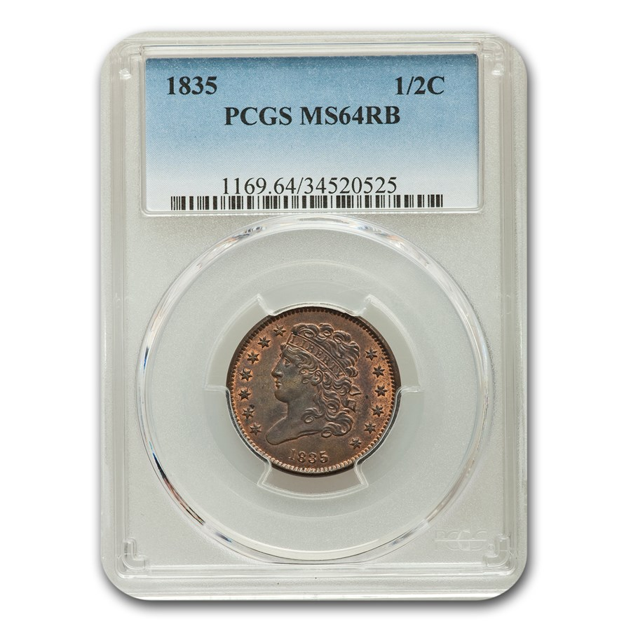 1835 Half Cent MS-64 PCGS (Red/Brown)