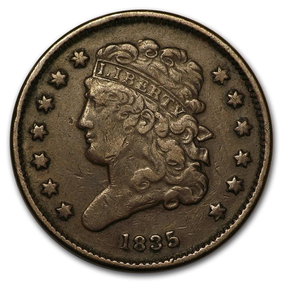 1835 Half Cent VF