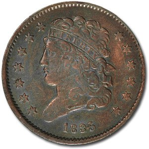 1835 Half Cent XF Details (Light Cleaning, Repunched Date)