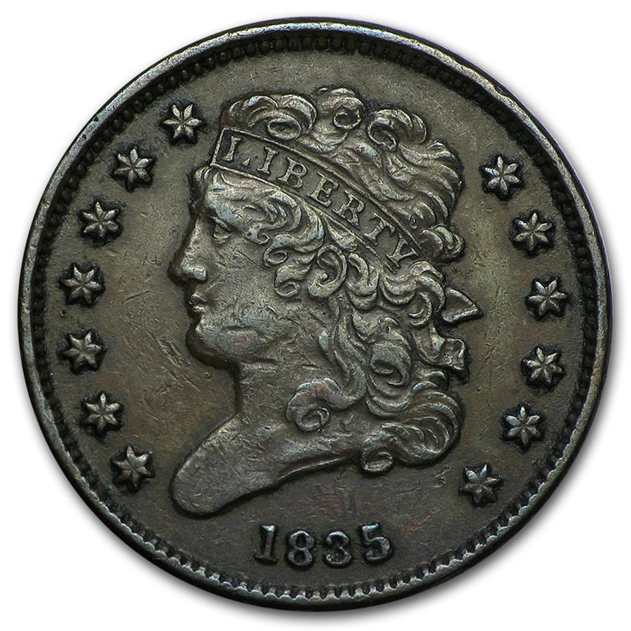 1835 Half Cent XF