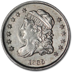 1835 Half Dime Small Date/Small 5¢ AU