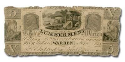 1835 Lumbermen's Bank, Warren, PA $5.00 PA-665, VG
