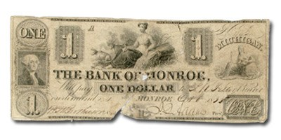 1835 The Bank of Monroe @ Monroe $1 MI-280 Fine Sewn