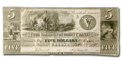 1835 Washington County Bank of Calais, ME $5.00 Note ME-250 AU