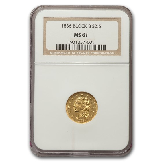 1836 $2.50 Classic Gold Quarter Eagle Block 8 MS-61 NGC
