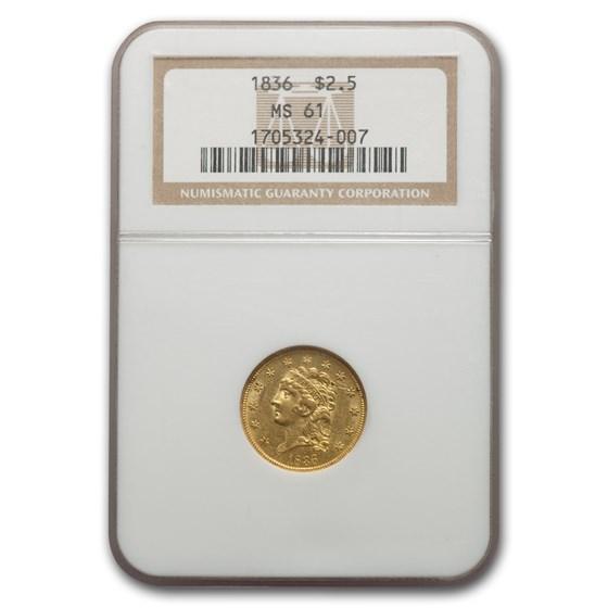 1836 $2.50 Classic Head Gold Quarter Eagle MS-61 NGC