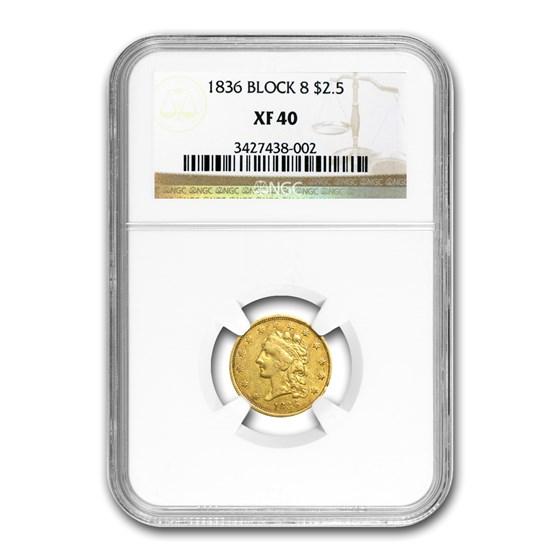 1836 $2.50 Gold Classic Head Block 8 XF-40 NGC