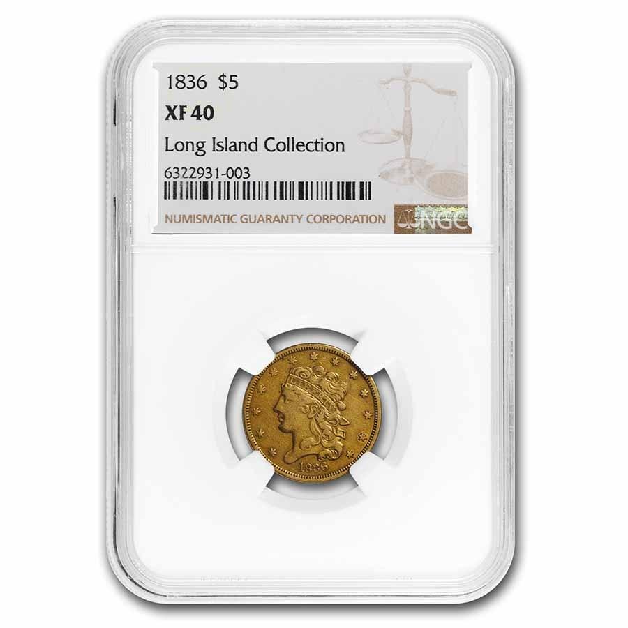 1836 $5 Classic Head Half Eagle XF-40 NGC