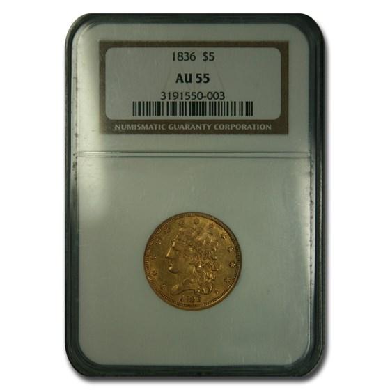 1836 $5 Gold Classic Head Half Eagle AU-55 NGC