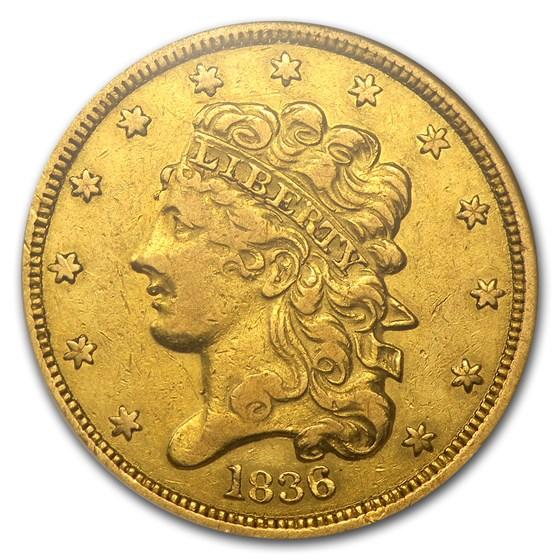 1836 $5 Gold Classic Head Half Eagle XF-45