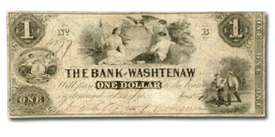 1836 Bank of Washtenaw, MI $1 MI-50, VG