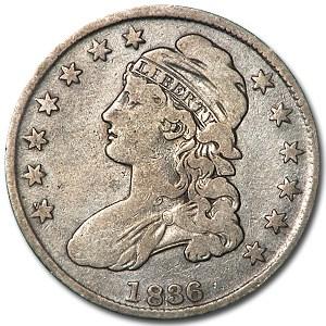 1836 Bust Half Dollar Fine Details (Cleaned, Lettered Edge)