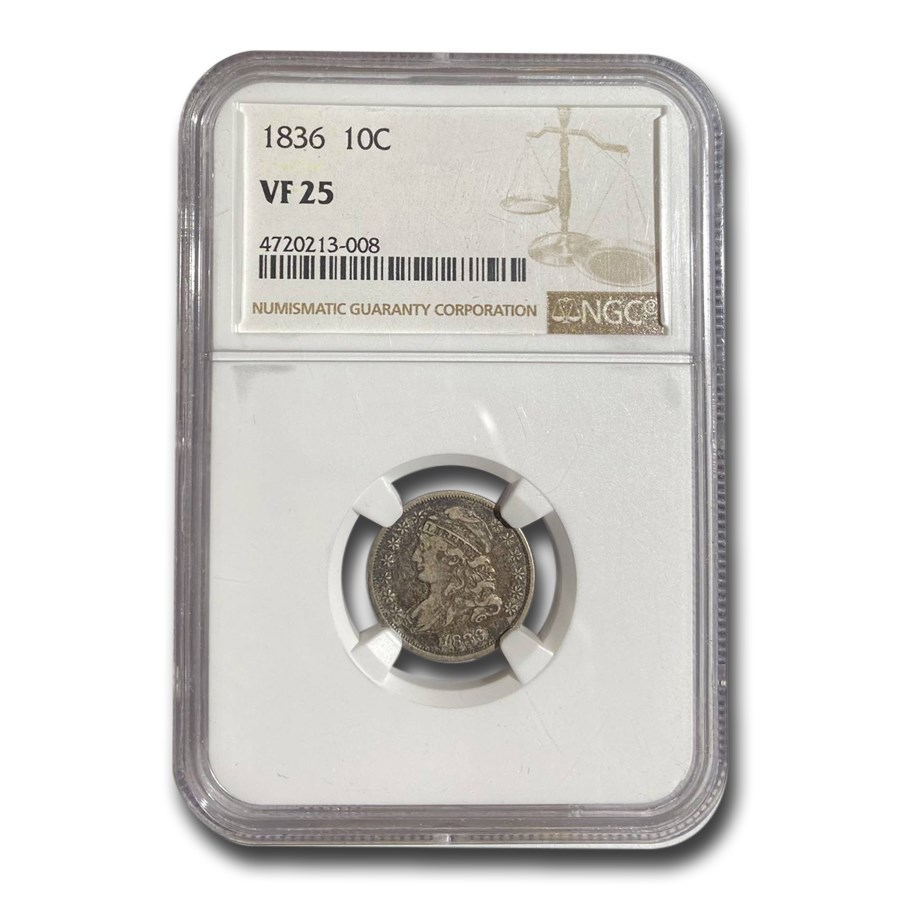 1836 Capped Bust Dime VF-25 NGC