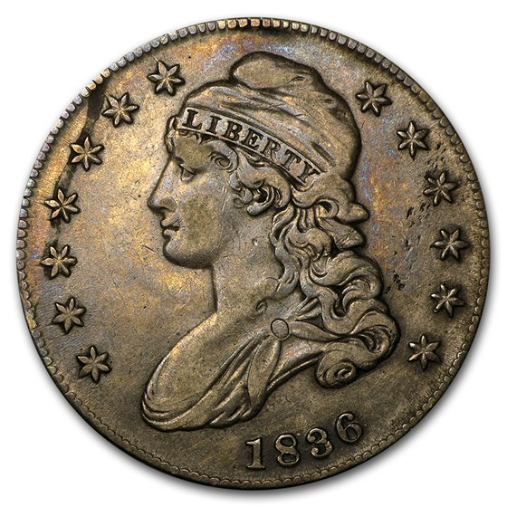 1836 Capped Bust Half Dollar Lettered Edge XF-45