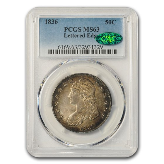 1836 Capped Bust Half Dollar MS-63 PCGS CAC (Lettered Edge)