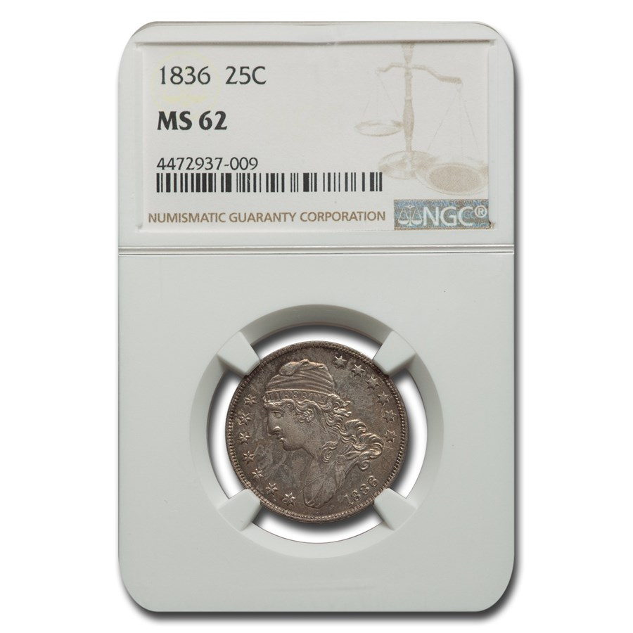 1836 Capped Bust Quarter MS-62 NGC