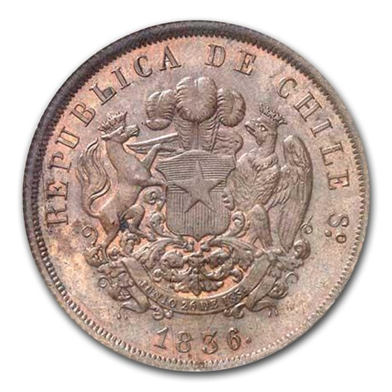 1836 Chile Republic Bronze 8 Escudos Pattern MS-64 NGC (Brown)