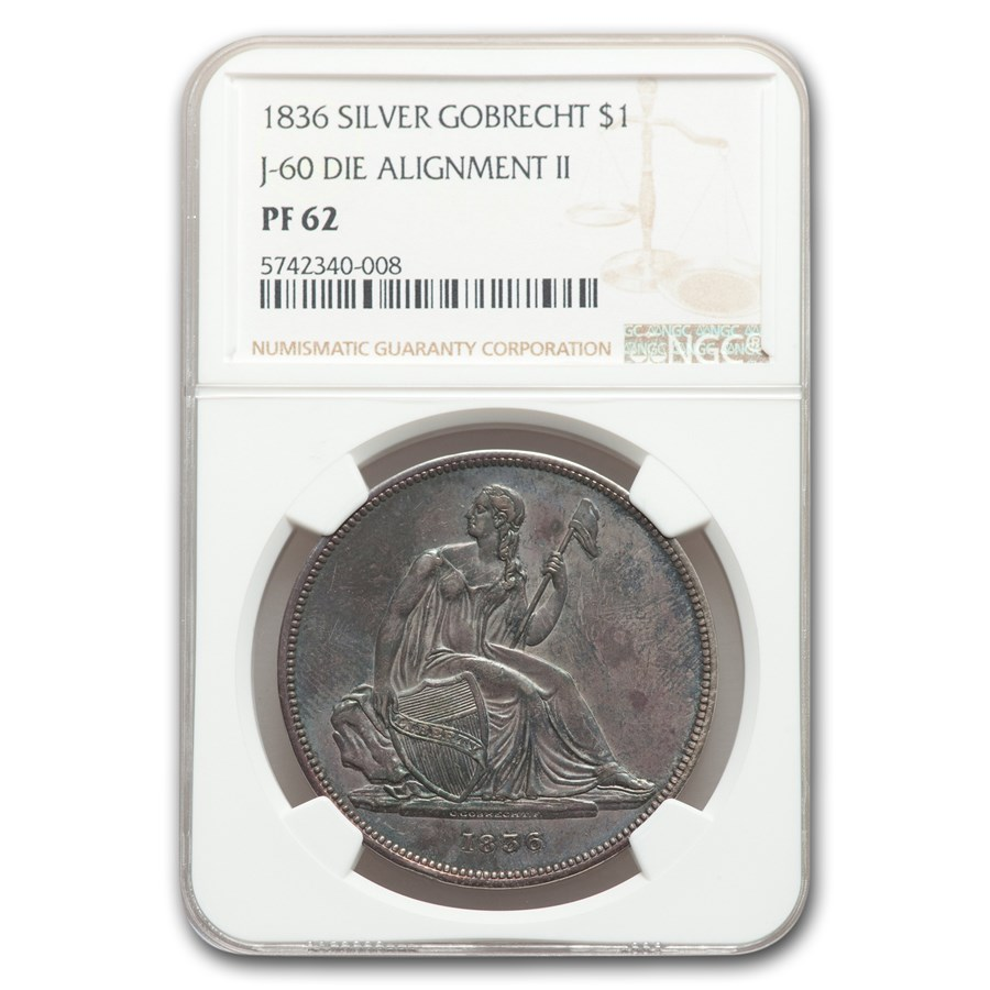 1836 Gobrecht Liberty Seated Dollar PF-62 NGC (Die Alignment II)