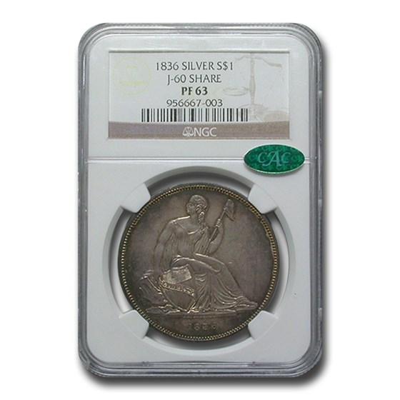 1836 Gobrecht Liberty Seated Dollar PF-63 NGC CAC (J-60 Silver)