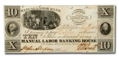 1836 Manual Labor Bank, Philadelphia, PA $10.00 PA-445, AU