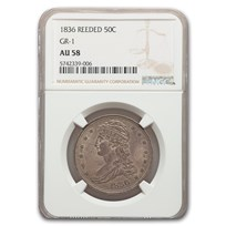 1836 Reeded Edge Half Dollar AU-58 NGC (GR-1)