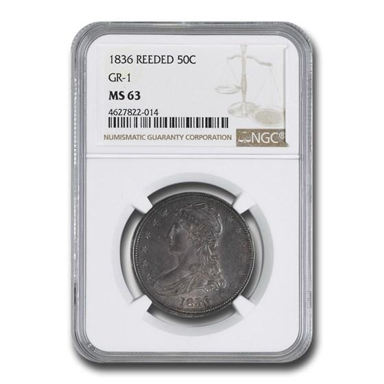 1836 Reeded Edge Half Dollar MS-63 NGC (GR-1)
