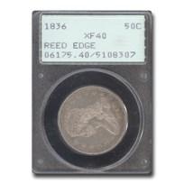 1836 Reeded Edge Half Dollar XF-40 PCGS (Rattler)