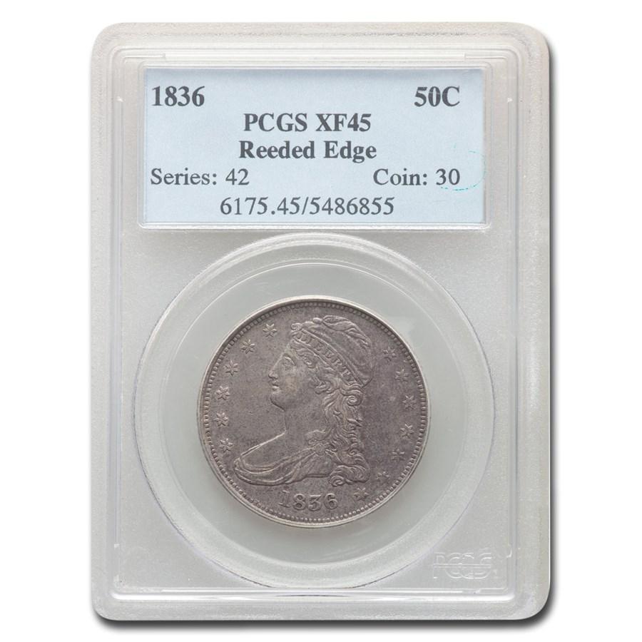 1836 Reeded Edge Half Dollar XF-45 PCGS