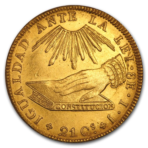 1836 SO IJ Republic of Chile Gold 8 Escudos AU (Cleaned)