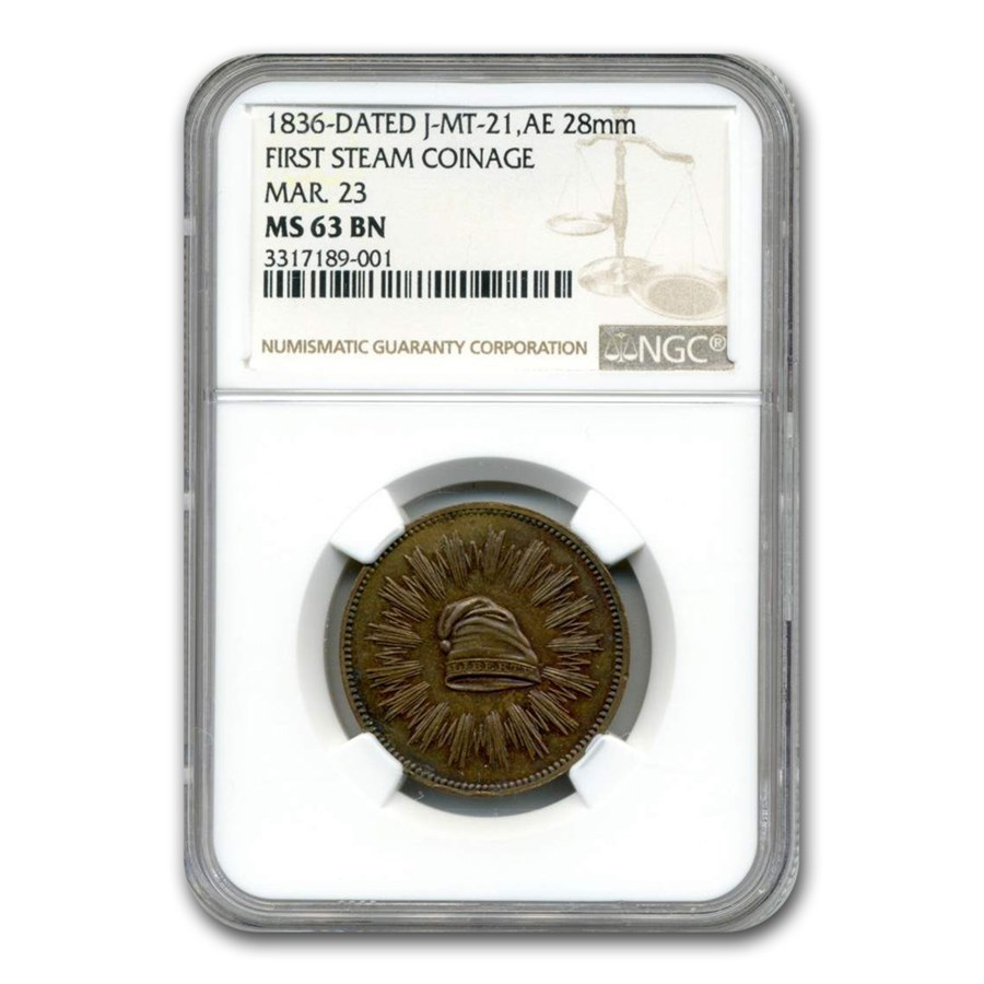 1836 U.S. Mint - First Steam Coinage MS-63 NGC ( Mar. 23, Brown)
