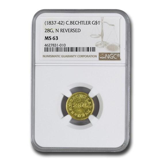 (1837-42) $1 Carolina Gold C Bechtler MS-63 NGC (28 G, N Reverse)