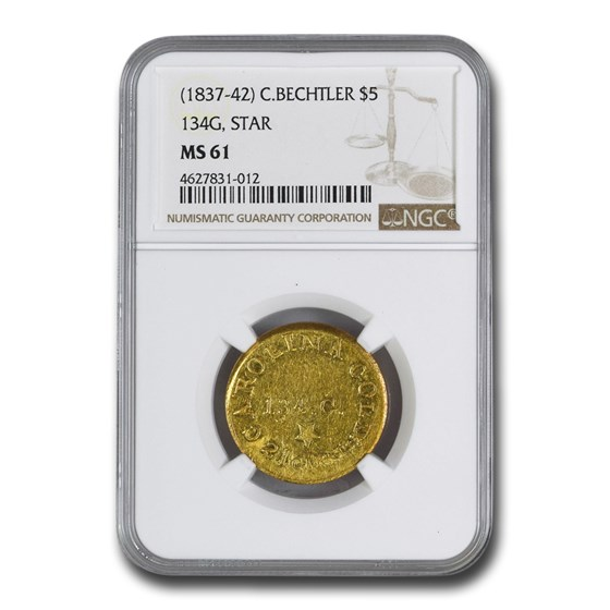 (1837-42) $5 Carolina Gold C. Bechtler 134 G, Star MS-61 NGC