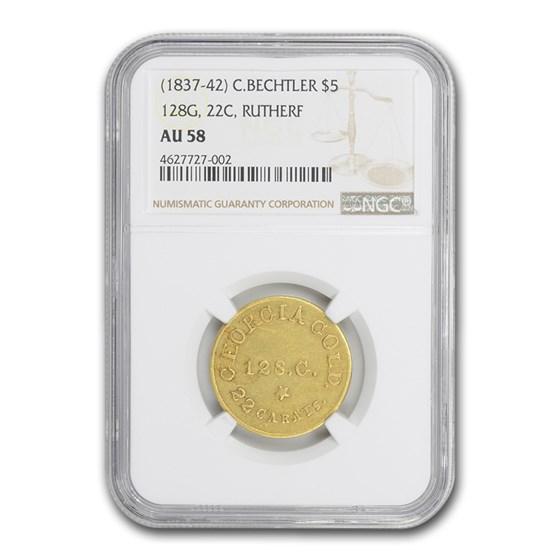 1837-42 $5 Georgia Gold C. Bechtler AU-58 NGC (128 G, Rutherford)